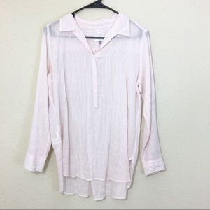 LOFT Pink Stripe Button Down Blouse Size Medium